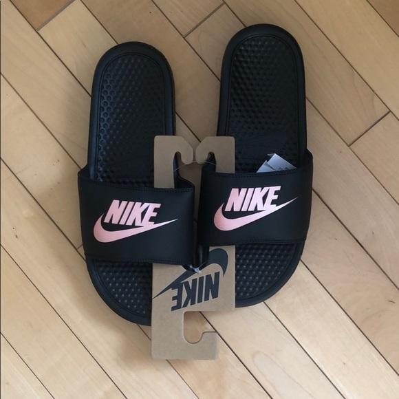 f9ada87b726e New Nike Women Slides. Black Rose Gold. Size 8.